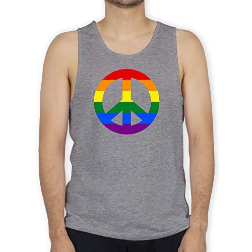 Shirtracer Statement - Peace Zeichen Regenbogen Pride - S - Grau meliert - Regenbogen Tanktop - BCTM072 - Tanktop Herren und Tank-Top Männer