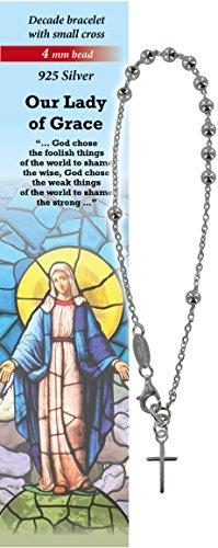 Pulsera Decenario de plata 925 con cuentas de 4 mm y una cruz - Virgen Milagrosa - en inglés