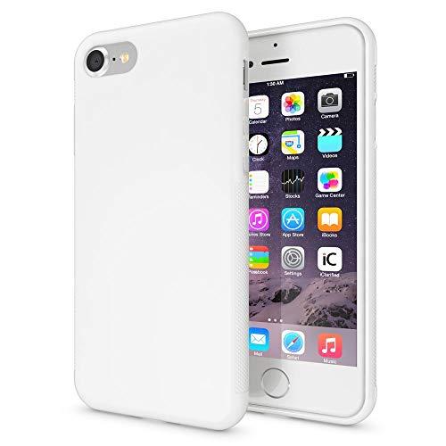 NALIA Silicone Cover compatibile con iPhone SE 2020/8 / 7 Custodia, Protettiva Morbido Copertura Sottile Gomma Cornice Gel Bumper, Ultra-Slim Case Skin Antiurto Guscio Grip Etui Thin - Bianco