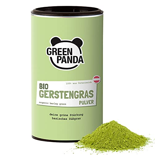 GREEN PANDA® Gerstengras Pulver Bio aus Österreich | Bio Gerstengras Pulver in nachhaltiger Kartondose | Für grüne Smoothies, Super Green Pulver Shakes, Chlorophyll zum Trinken | 125g