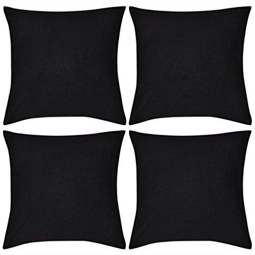 vidaXL Ensemble de 4 Taies d'oreiller Housse de Coussin Noir en Coton 80 x 80 cm