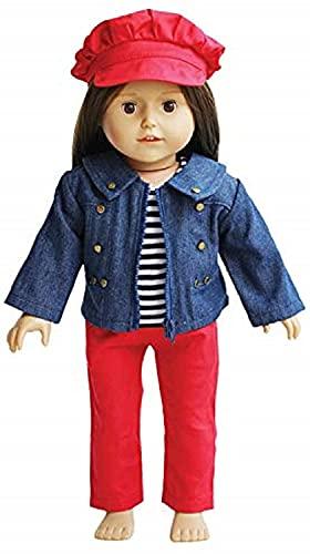 The New York Doll Collection 18 pulgadas / 46 cm Muñeca Atuendos - Mezclilla Chaqueta con A rayas Tee Rojo Pantalones, Sombrero Incluido -Se adapta 18 pulgadas / 46 cm Muñecas