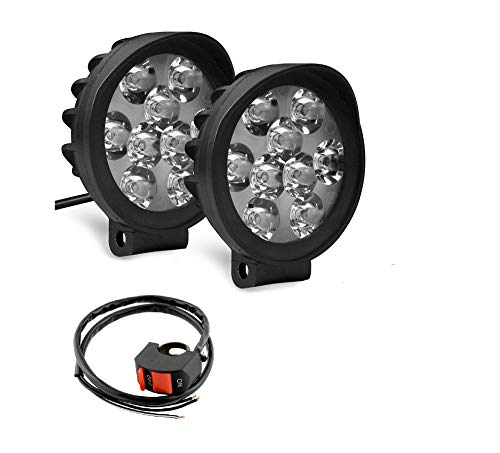 Auto Hub 9 LED 27W Anti Fog White Spot Light Auxiliary Light with Switch for Bikes & Scooty - Pack of Two
