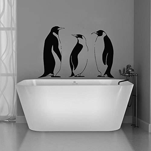 Tianpengyuanshuai Adesivo murale Bagno Decorazione della casa Decalcomania del Vinile Camera da Letto Animale Simpatico Pinguino Albero Rimovibile 85X