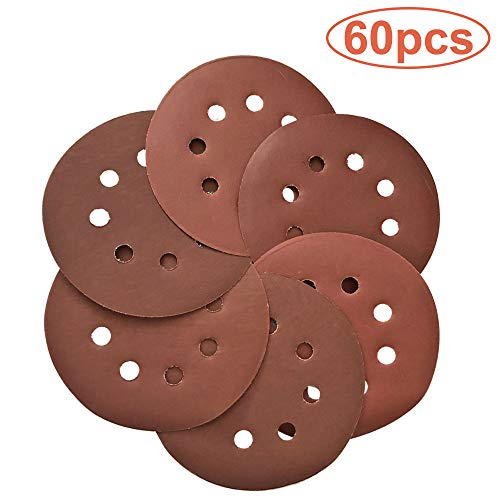 """5/"""" Inch Sandpaper Disks P80 Grit Peel and Stick Adhesive Abrasive Sand Paper"""