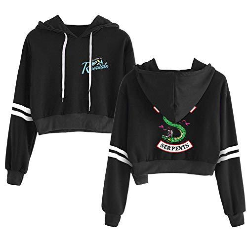 Sudadera Mujer Niñas Riverdale Serpents Graphic 3D Print Sudaderas con Capucha Pullover de Manga Larga Crop Top Sweater Jersey con Dos Rayas para otoño Invierno