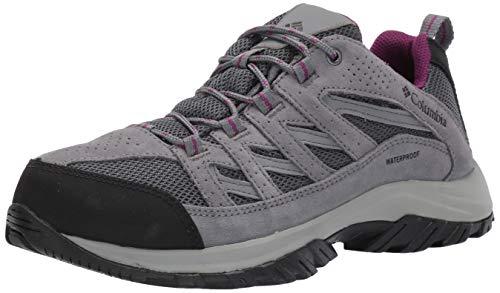 Columbia Women's Crestwood Waterproof Hiking Shoe, Graphite, Wild iris, 7.5 Regular US