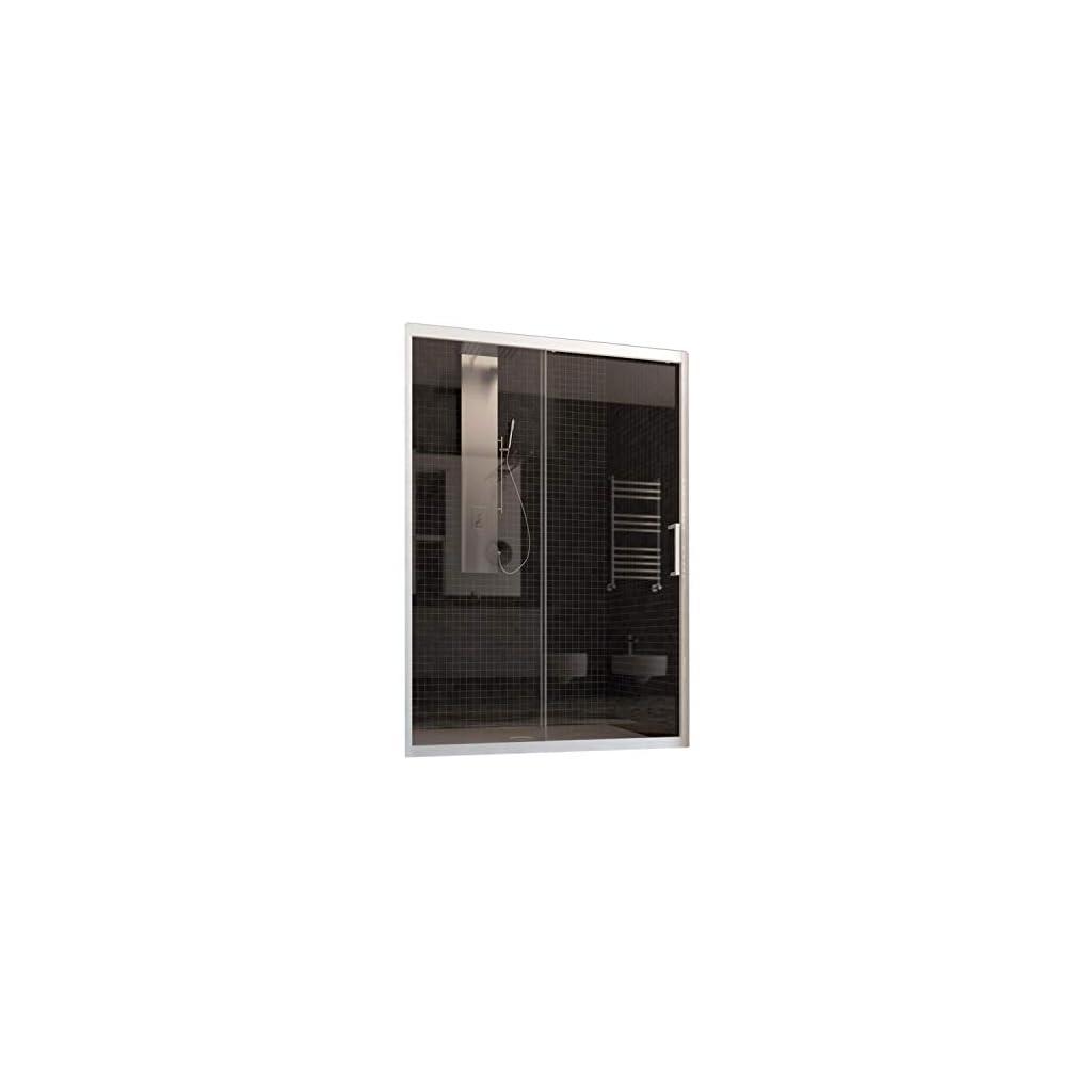 F&T Porte de Douche en PVC 110 CM H190 Transparent mod. Glax Porte Unique Profil Blanc