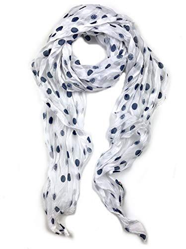 collezione alessandro Italienischer Schal Carla im Marinelook, weiß mit blau 210cm x 80cm