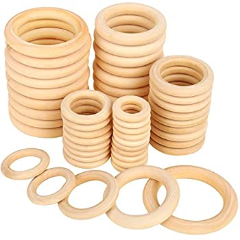 Bestsupplier 50 Pcs Unfinished Solid Wooden Rings for Craft Ring Pendant and Connectors Jewelry Making 5 Size
