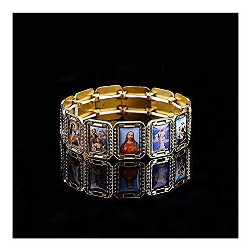 AdorabFruit Jesucristo Católica Pulsera de la aleación del Icono de Jesús Rosario joyería del corazón de Saint Misericordia San Icono religioso Bolas Pulsera (Metal Color : 1)