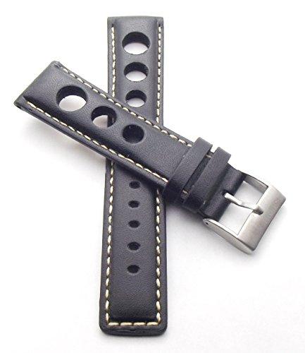 Cinturino per orologio con fori, tipo da rally, 22 mm, colore: nero con...