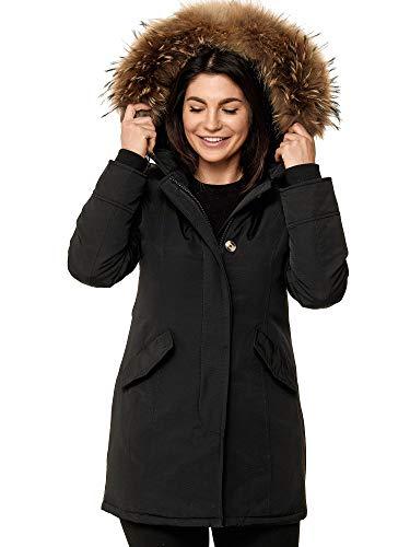 Zarlena Damen Jacke Winterjacke Wintermantel Mantel Gefüttert Parka mit Echtfell Kapuze Warm Schwarz M