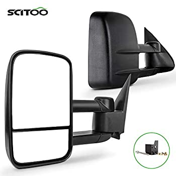 SCITOO Towing Mirrors fit for Chevy for GMC Exterior Accessories Mirrors fit for C1500 C2500 C3500 K1500 K2500 K3500 1988-1998 with Convex Glass Manual Controlling and Telescoping Features