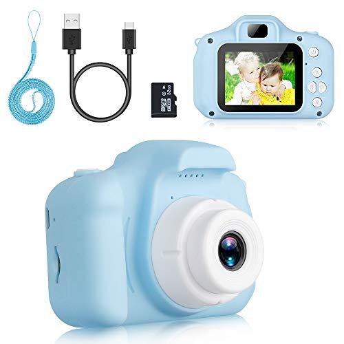 Komake Kinderkamera, Kinder Digital Kamera Spielzeug Kleinkind Kamera Spielzeug 2 Zoll HD-Bildschirm 1080P 32 GB TF-Karte, Jungen und Mädchen Geschenke Spielzeug für 3 bis 12 Jahre alte (Blau)