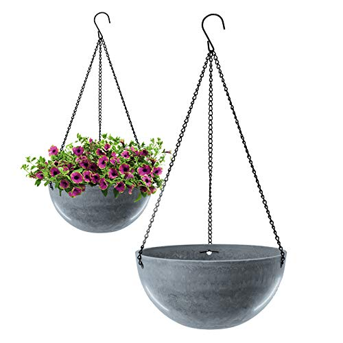 Blumenampel ,Hängende Pflanzgefäße Grau Blau, Blumentöpfe Decke hängender Übertopf Ideal für Zimmerpflanzen Sukkulenten Luftpflanzen Kakteen (2 Pcs)