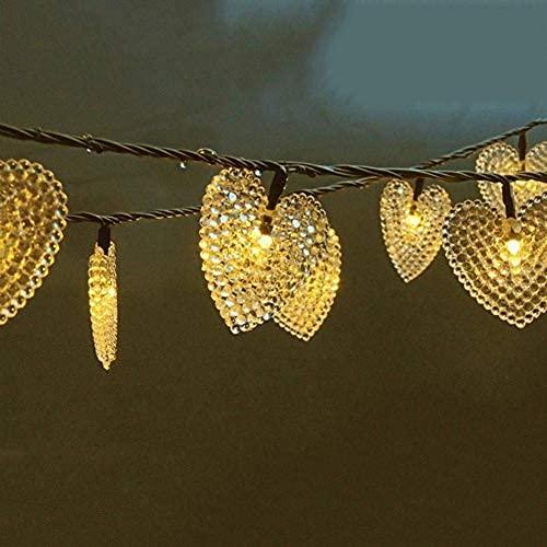 YXYY Outdoor Garden Solar String Lights, 20ft 30 LED Love Heart Shape Solar Starry Fairy Decorative String Lights Waterproof For garden outdoor party