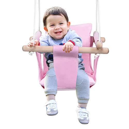 COSTWAY Babyschaukel mit Kissen, Baby Schaukelsitz mit längenverstellbares Seil, Kinderschaukel Holz, Holzschaukel bis 60kg belastbar, Türrahmen Schaukel für Baby von 6 bis 36 Monaten (Rosa)