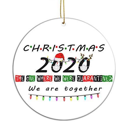 FREE FISHER Christmas Ornaments 2020   Holiday Xmas Tree Decorations Ornament The One Where We were Quarantined   Ceramic Holiday Decor Santa Hat