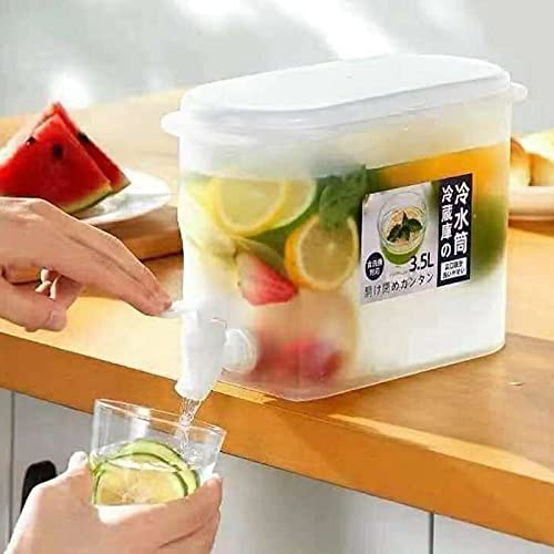 Tanant Dispensador de bebidas con grifo – Tetera de frutas con grifo, dispensador de bebidas de plástico, infusor de agua para hielo, cubos fríos y reutilizables de 3,5 litros