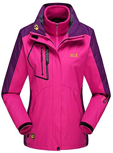 CORAFRITZ Damen Wasserdicht 3 in 1 Skijacke Winter Winddicht Schneemantel mit Fleece Innenseite Gr. 48, rose