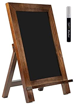 ChalkPro Wooden Framed Standing Chalkboard Sign  Rustic Brown  + Includes White Chalk Marker | Magnetic Non-Porous Memo Board | Décor for Kitchen Home Bar Countertop Wedding Café and Restaurant