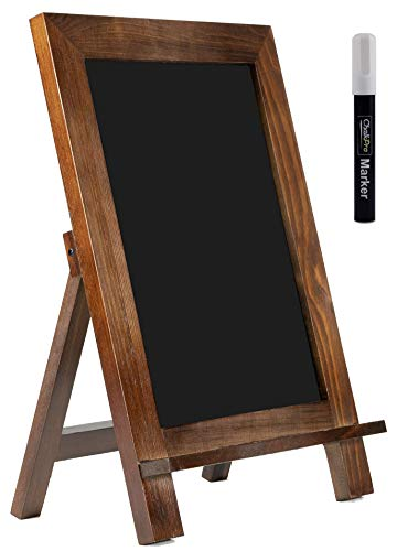 ChalkPro Wooden Framed Standing Chalkboard Sign (Rustic Brown) + Includes White Chalk Marker | Magnetic Non-Porous Memo Board | Décor for Kitchen, Home, Bar, Countertop, Wedding, Café, and Restaurant