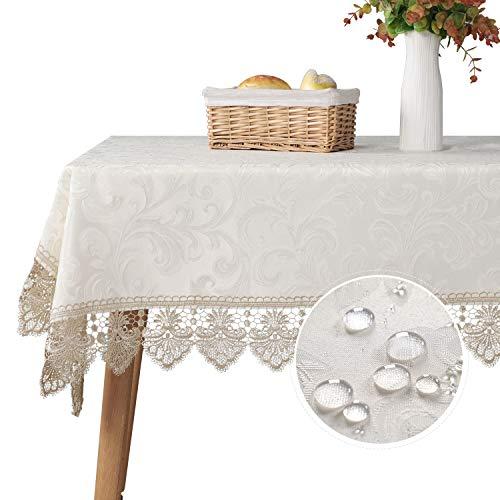 キッチンダイニングテーブル用の長方形のテーブルクロス屋内と屋外の装飾のためのエレガントな耐油性の防水レースのテーブルクロスカバー90x150cm