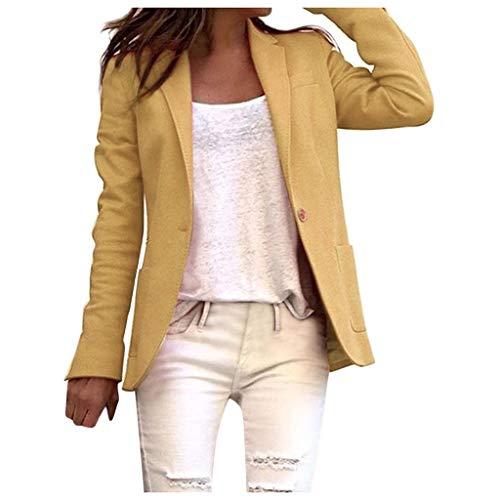 HULKY Blazers Femme Manches Longues Veste Tailleur Femme Blazers Revers Poche Bouton Élégant Travail Bureau Classique Ouvert Avant Blazer Veste Costume