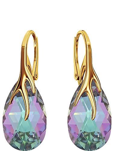 Crystals & Stones BAP/39 Almond *Vitrail Light* - Pendientes Plata 925 Mujer Pendientes con Cristales de Swarovski Elements - Fantástica Pendientes con caja de regalo