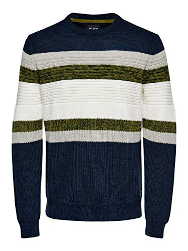 ONLY & Sons ONSLAZLO 7 Striped STRUC Knit Noos Maglione, Abito Blues, S Uomo