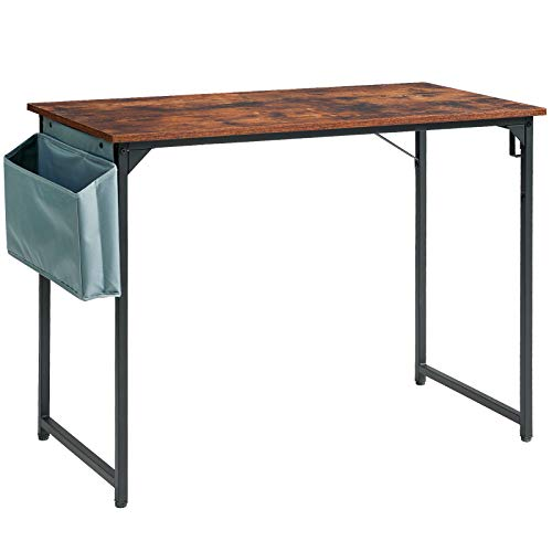 YMYNY 120cm Schreibtisch, Computertisch mit Aufbewahrungstasche, Laptop-Tisch, Einfacher Bürotisch, Multifunktional Studie Tisch, fürs Home Office, Wohnzimmer, Arbeitszimmer HTMJ31MH