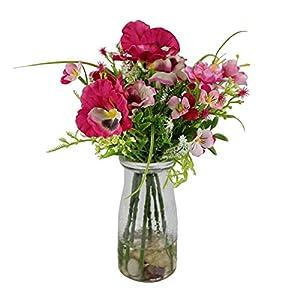 Silk Flower Arrangements Wrenbury Artificial Pansy & Blossom in Milk Bottle Vase | Artificial Pansies in Vase | Fake Flowers Faux Silk Flowers | Artificial Flowers for Home Indoor Decoration (Pink)