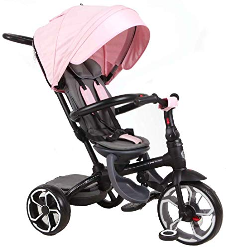 QPLAY Kinder Dreirad Buggy Prime 4in1 10/8 Zoll Rosa UV-Dach Freilauf Schubstange
