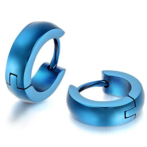 JewelryWe Pendientes Hombre Mujer, Huggie Pendientes de Aro, Pulido Acero inoxidable Pendientes Unisex Oro Negro Plateado (con bolsa de regalo) 1 Par (Azul)