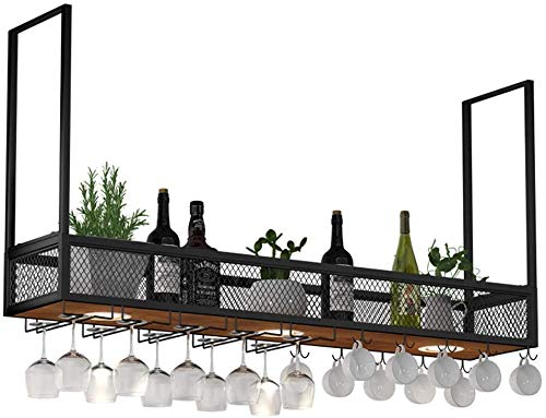 HTDZDX Metal/Iron Wall Hanging Wine Rack with LED Spotlights, Solid Wood Bar Storage Shelf Industrial Wine Cabinet, Bottles,Goblet and Cup Holder (Size : 180x30x80cm)