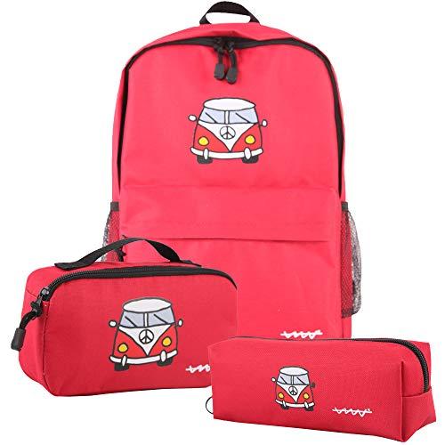 Cállate la boca Set 3pcs rojo (mochila + bolsa almuerzo + estuche), 43x29x11
