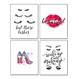 Motivational Inspirational Lettering Quote Fashion Woman Art Print Set Of 4 Posters 8'X10' Canvas|Office Girls Home Words Wall Art-To Inspire Teens Girls Hard Work Decor