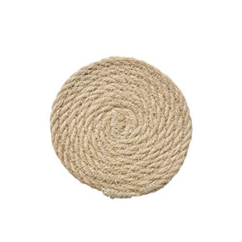 Imikeya - Juego de 4 manteles individuales trenzados, redondos, gruesos, resistentes al calor, antideslizantes, 12 cm