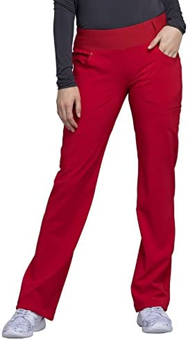 CHEROKEE iflex Mid Rise Straight Leg Pull on Scrub Pant CK002 S Red product image