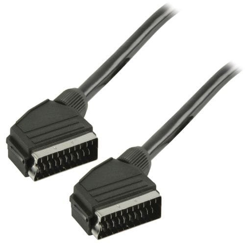 Cable euroconector-Scart M-M 2 Metros Negro, Cablepelado