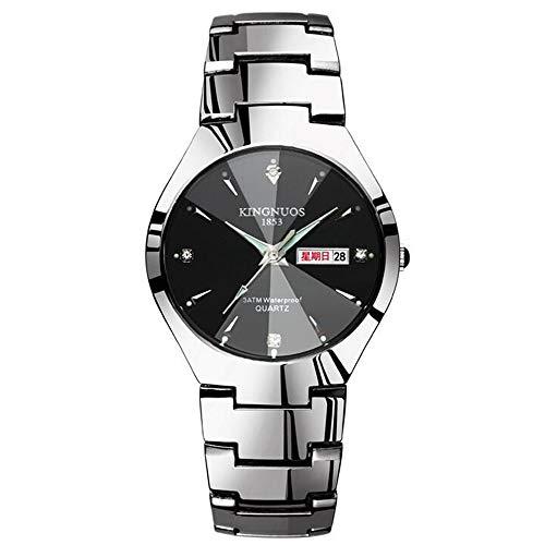 ZSDGY Pareja De Cuarzo Reloj Automático del Acero De Tungsteno De Acero Color De Banda Reloj Luminoso Hombres Y Mujeres Impermeable Reloj Estudiante F-Men
