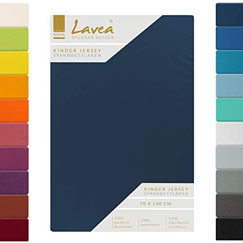 Lavea Kinder Jersey Spannbettlaken, Spannbetttuch, Serie Maya, 60x130cm | 70x140cm, Galaxyblau, 100% Baumwolle, hochwertige Verarbeitung, mit Gummizug