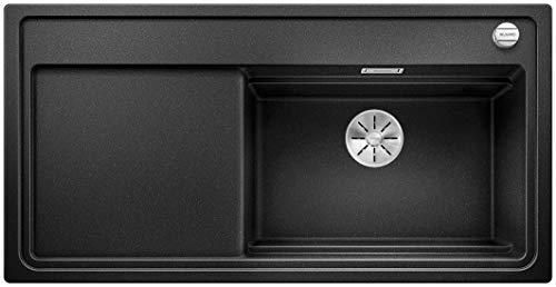 BLANCO Zenar XL 6 S DampfgarPlus, Küchenspüle mit 2 Dampfgarbehältern, Glas-Schneidbrett, Infino-Ablaufsystem, Ablauffernbedienung, Becken rechts, Silgranit PuraDur Anthrazit-schwarz; 524066