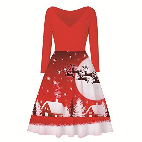 URIBAKY Weihnachts Kleidung Damen,Lange Ärmel Frohe Damen Weihnachten Elch-Druck Kleid-Christmas Weinlese-Abend-Partykleid Vintage Cocktailkleid Rockabilly Schwingen Kleid