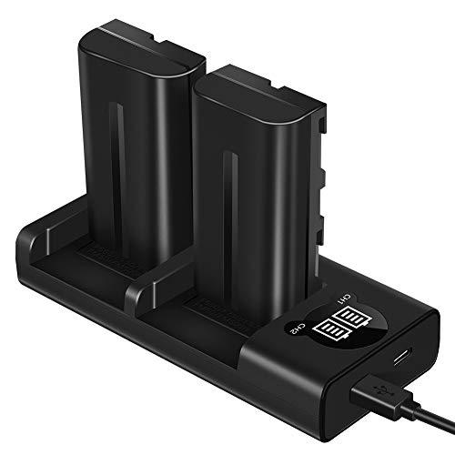 ESDDI NP-F550 Batería para cámara de Video Sony con Juego de Cargador de Doble Ranura para Sony R1 / TR11, TR1100E, TR12, TR18, Sony CD-RV100, RV200, SC Series, luz LED Bicolor