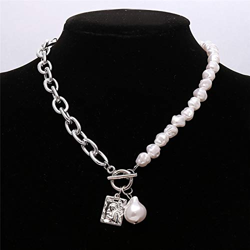 Necklaces,Chain Necklace Punk Baroque Irregular Pearl Chain Choker Necklace For Women Asymmetric Lock Pearl Pendant Necklaces Trend Jewelry CS5258902