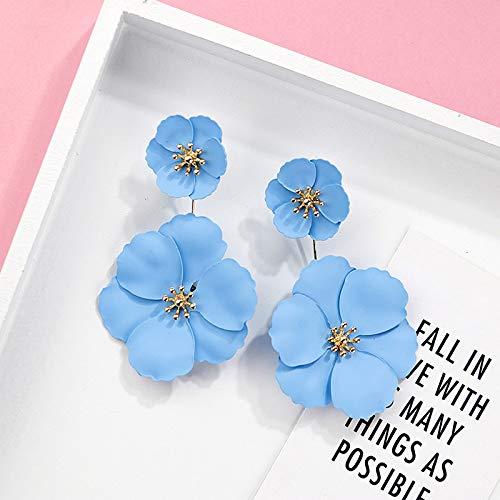 Pendientes De Mujer,Diseño Elegante Doble Flor Grande Pendientes Colorida Fiesta De Playa Largo Pendientes Regalos para Novia Encanto Moda Gota Colgante Pendientes Joyería para Mujeres Damas, Azul