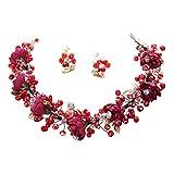 Frcolor Tiaras de novia con pendientes, corona de boda, flores de cristal, diadema, tocado de fiesta, joyería para el pelo para mujer (rojo vino)
