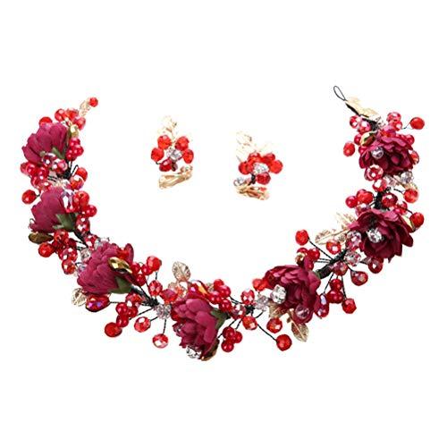 Frcolor Tiaras de novia con aretes Corona de boda Flores de cristal...